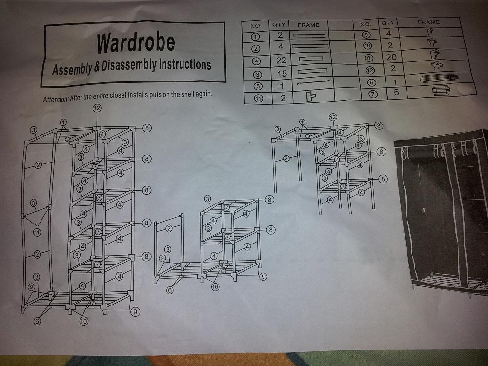 Aufbauanleitung XL Kleiderschrank Campingschrank Faltschrank